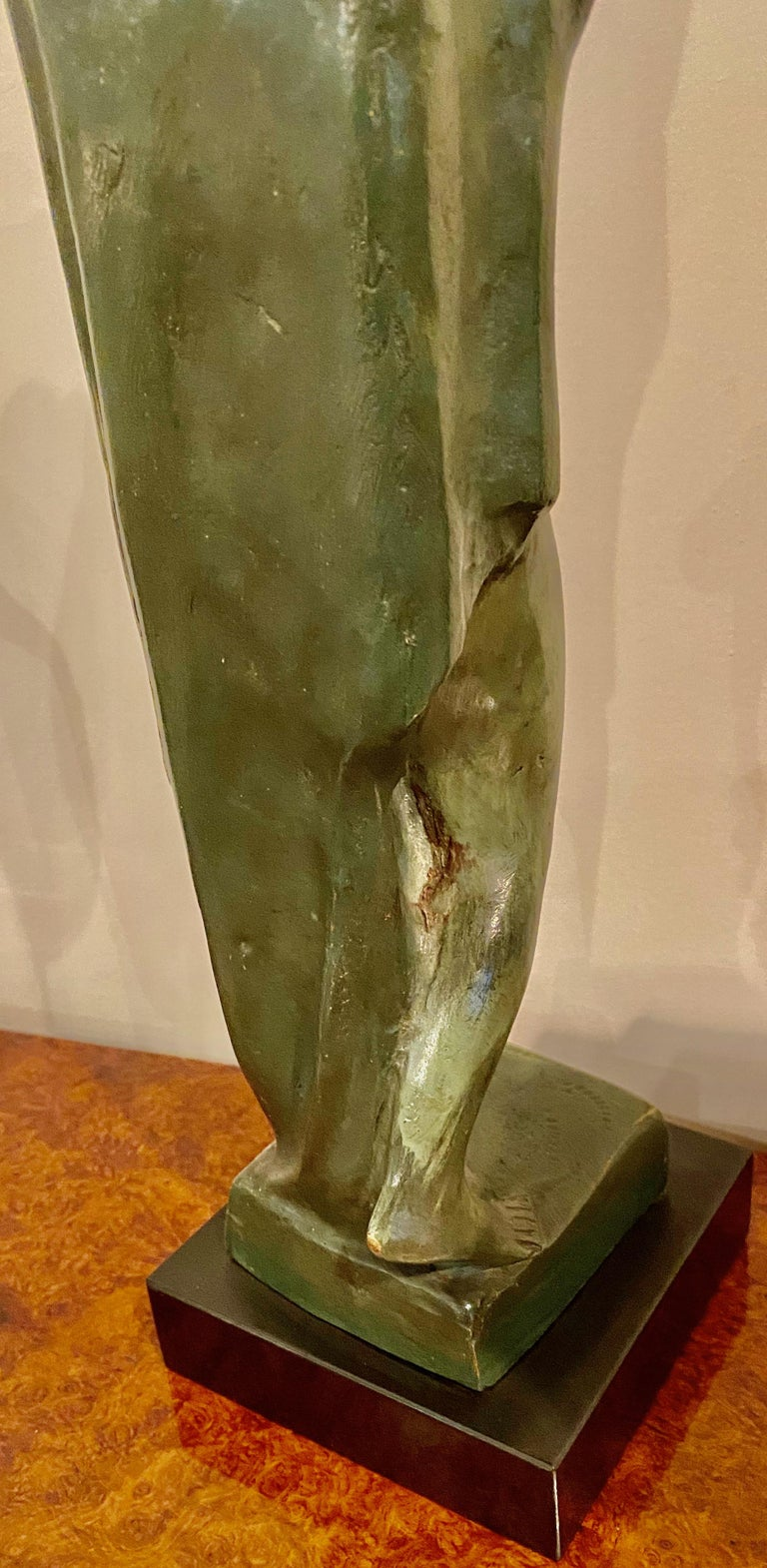 Mid-20th Century Art Deco Figure by Eugene Canneel Bronze, 1930s For Sale