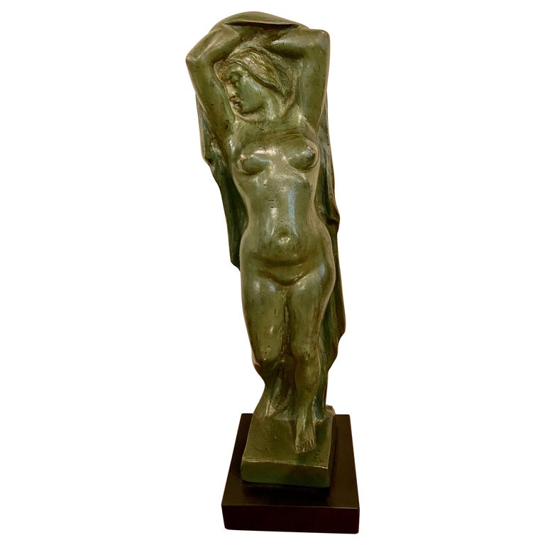 Art Deco Figure by Eugene Canneel Bronze, 1930s For Sale