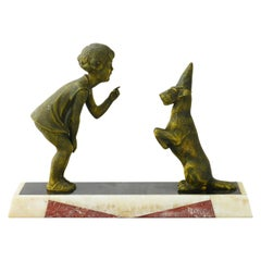 Art Deco Figure Girl and Dog by P Sega, French, circa 1930