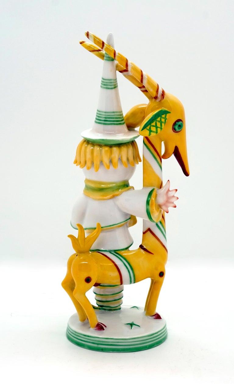 Art Deco Art Déco Figure, Grotesque 'Man With Antelope' Walter Bosse for Augarten, Vienna