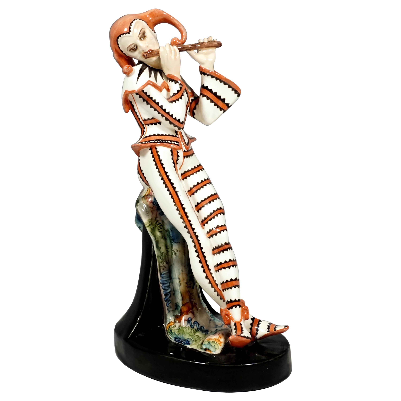 Art Deco Figure, Harlequin with Flute by Josef Kostial, Goldscheider Vienna
