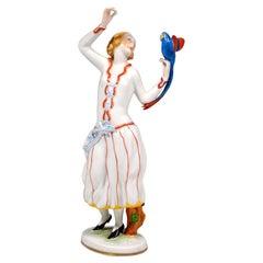 Art Déco Figure, 'Lady With A Parrot' by Ida Schwetz-Lehmann for Augarten Vienna