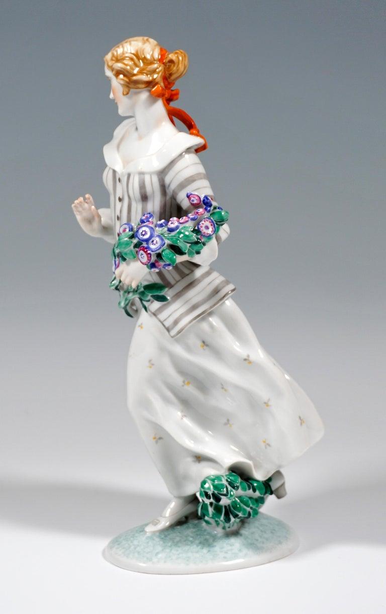 Austrian Art Déco Figure, 'Lady With Flowers' by Ida Schwetz-Lehmann for Augarten, Vienna For Sale