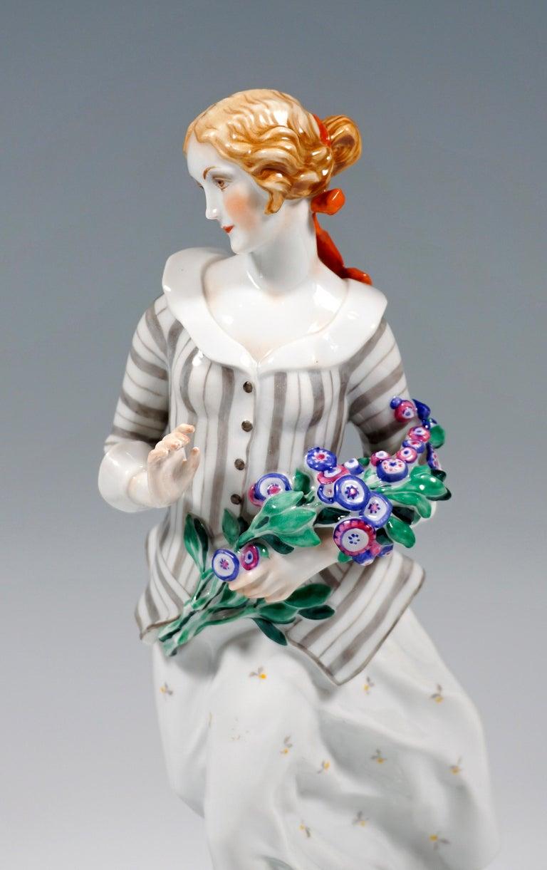 Glazed Art Déco Figure, 'Lady With Flowers' by Ida Schwetz-Lehmann for Augarten, Vienna For Sale