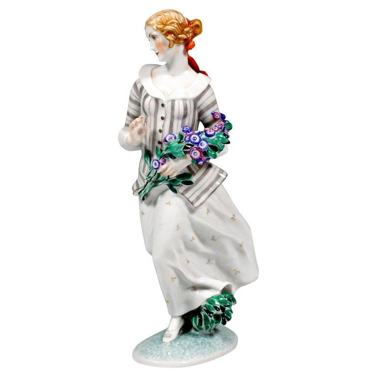 Art Déco Figure, 'Lady With Flowers' by Ida Schwetz-Lehmann for Augarten, Vienna For Sale