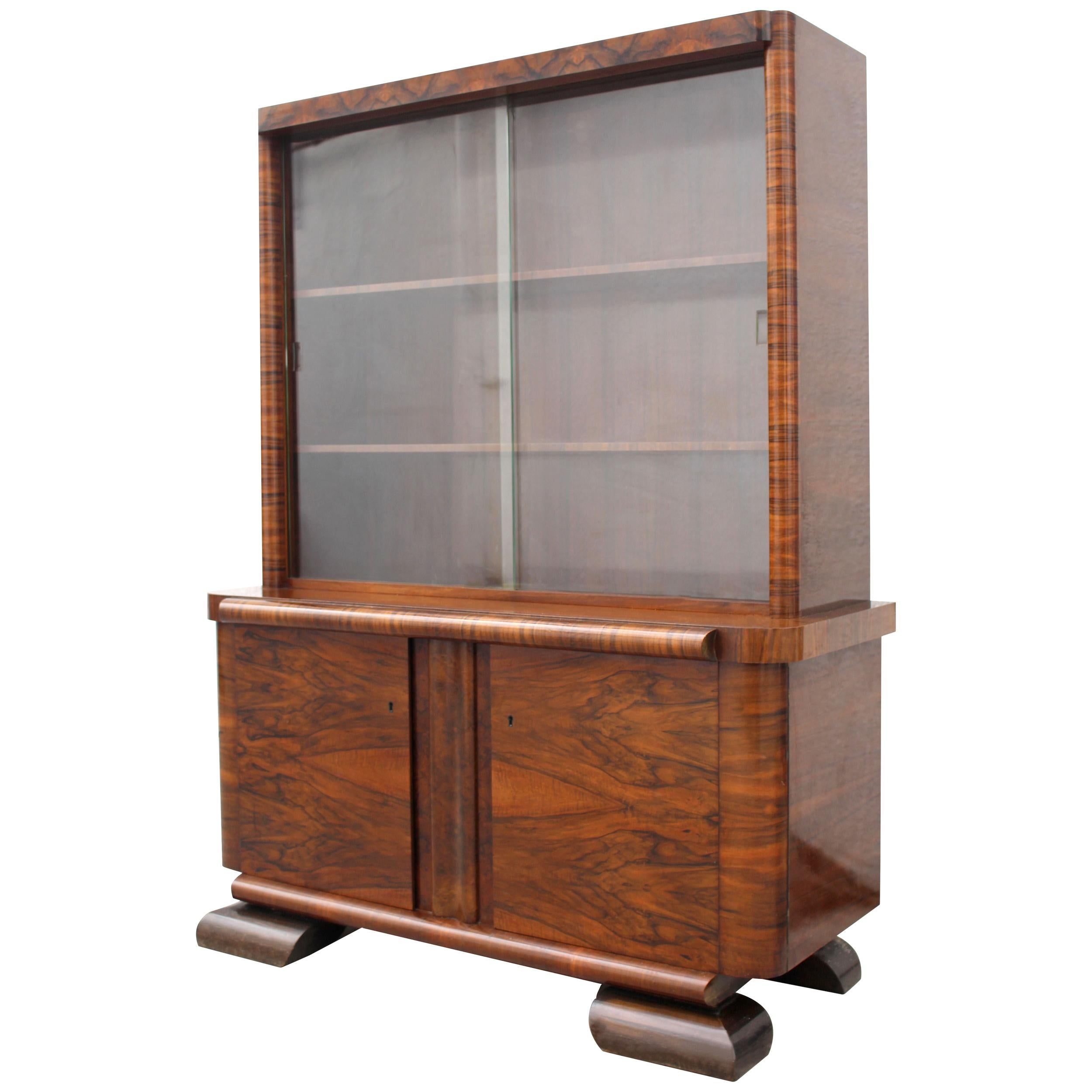Art Deco Figured Walnut Bookcase, circa 1930