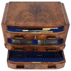 Art Deco Figured Walnut Bow Fronted Canteen of Cutlery with 3 Fitted Drawers