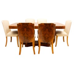 Art Deco Figured Walnut Dining Table and 6 Chairs by Harry & Lou Epstein