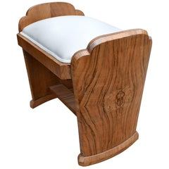 Art Deco Figured Walnut Dressing Stool, circa 1930