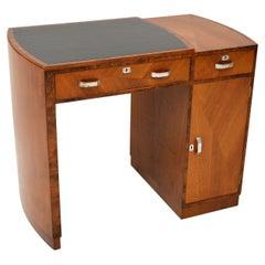 Art Deco Figured Walnut & Leather Desk