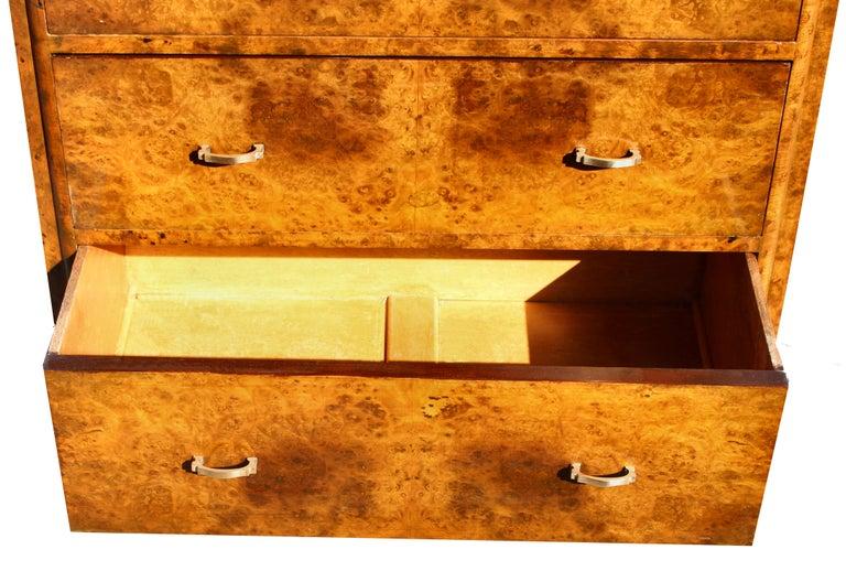 20th Century Art Deco Figured Walnut Tallboy Cupboard, English, Circa 1930 For Sale