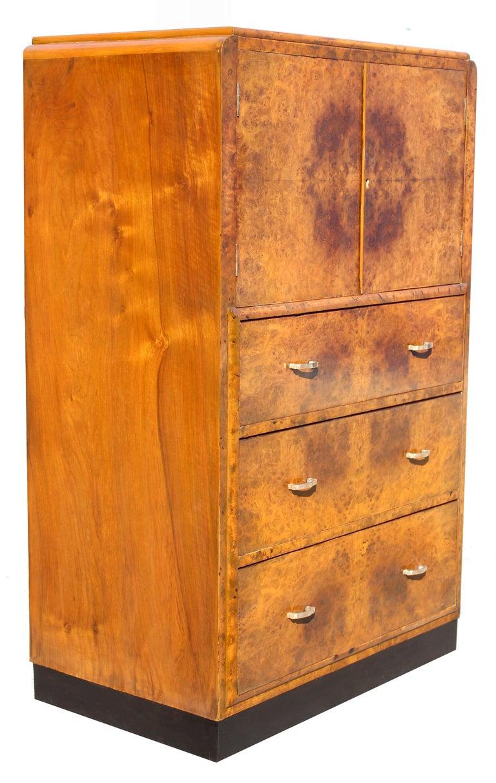 Art Deco Figured Walnut Tallboy Cupboard, English, Circa 1930 For Sale 4
