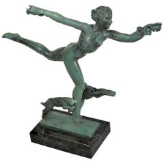 Art Deco Figurine Running Nude with Goats by Fayral