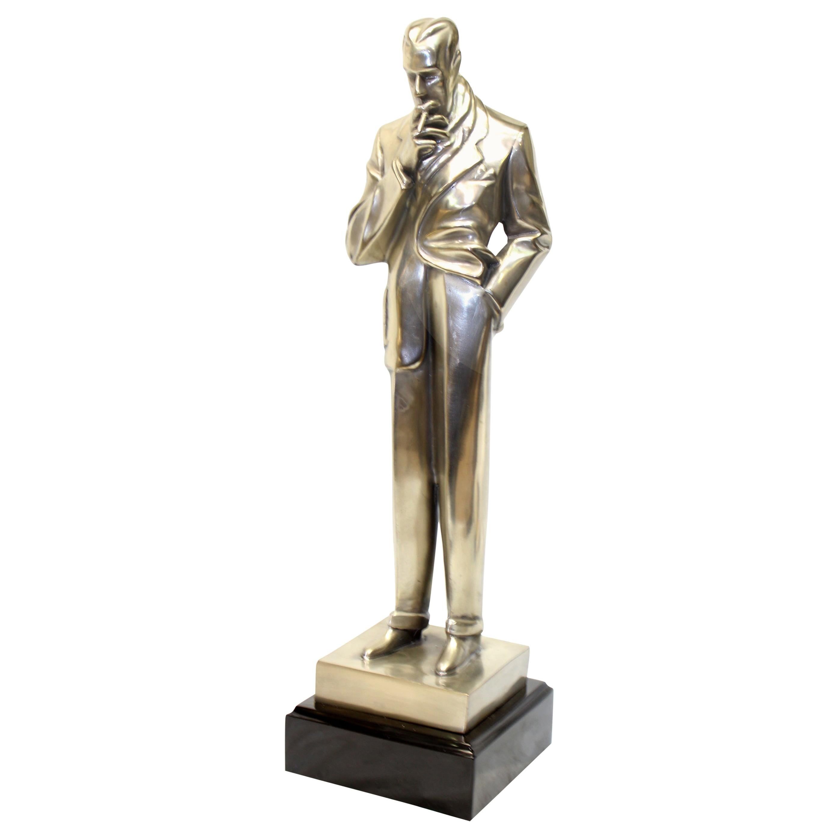 Art Deco Figurine the Smoker Silvered Bronze