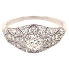 Art Deco Filigree .38 Old Mine Cut Diamonds Platinum Ring