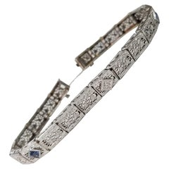 "Art Deco Filigree ""Belly"" Bracelet in 14 Karat Gold with Diamonds n Sapphires"