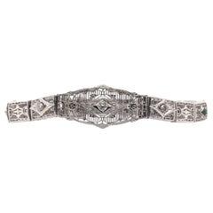 Art Deco Filigree Bracelet 14K White Gold