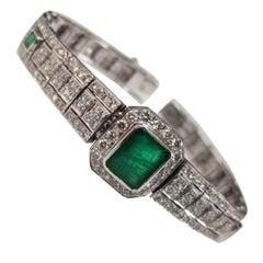 Art Deco Style Bracelet in 18 Karat Gold with Large Emerald Center & Diamonds
