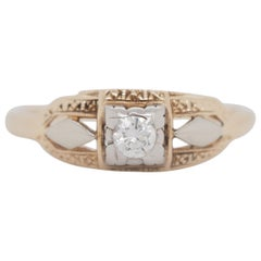 Art Deco Filigree Carved 14 Karat Two-Tone Gold Solitary Diamond Ring