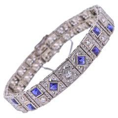 Art Deco Filigree Diamond Blue Gemstone Gold Bracelet