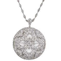 Art Deco Filigree Diamond Pin or Pendant on Fitted Chain