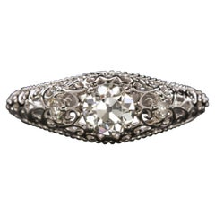 Art Deco Filigree Diamond Ring H Color