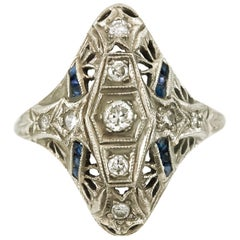 Art Deco Filigree Diamonds and Synthetic Sapphire Ring