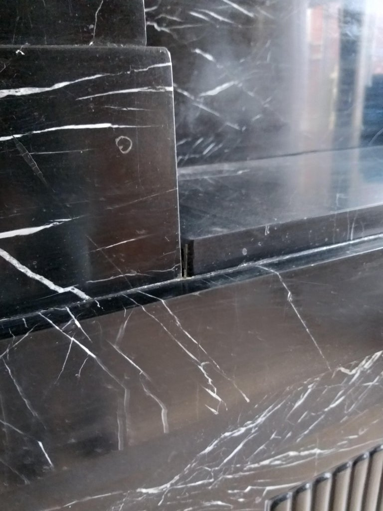 European Art Déco Fireplace, Nero Marquina Marble, 1932 For Sale