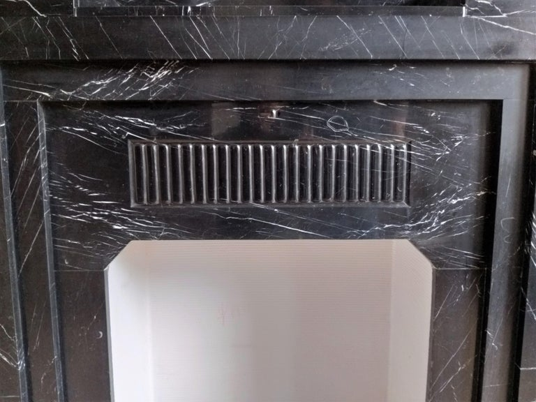 Art Déco Fireplace, Nero Marquina Marble, 1932 In Good Condition For Sale In Gembloux, BE