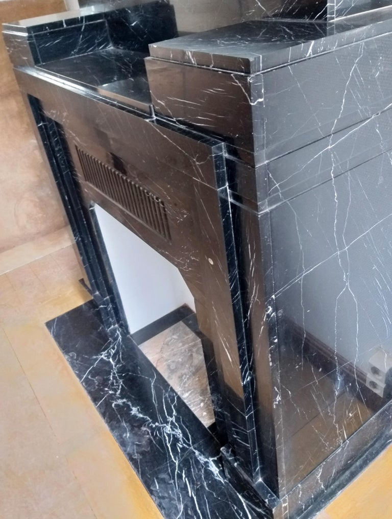 Mid-20th Century Art Déco Fireplace, Nero Marquina Marble, 1932 For Sale