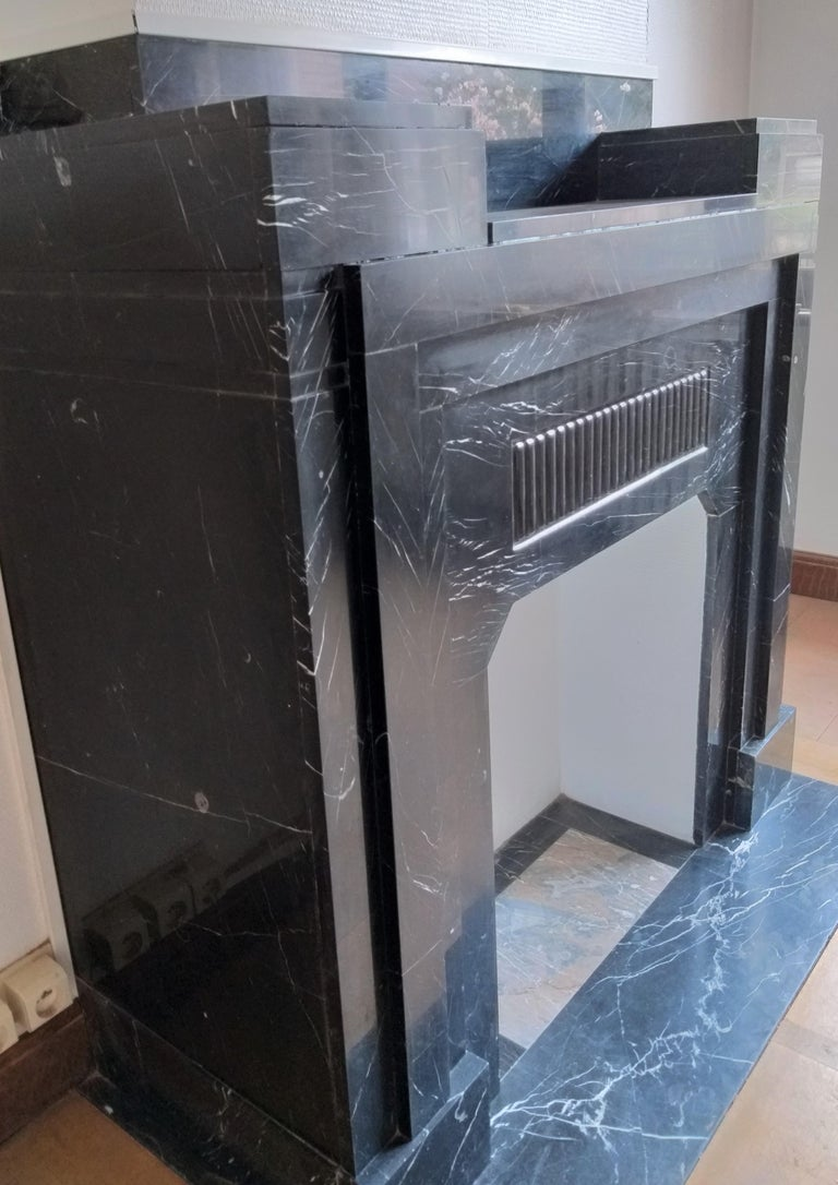 Art Déco Fireplace, Nero Marquina Marble, 1932 For Sale 1