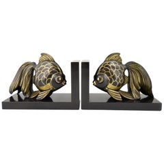 Art Deco Fish Bookends Jean Luc France 1930 on Marble Base