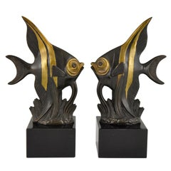 Art Deco Fish Bookends Luc, France, 1930