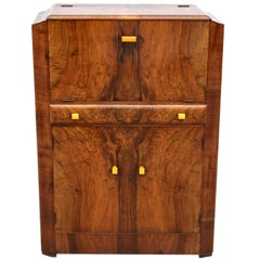 Art Deco Fitted Burr Walnut Cocktail Cabinet, circa 1930