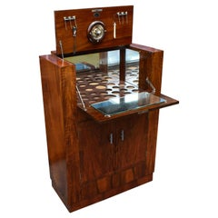 Art Deco Fitted Burr Walnut Cocktail Cabinet, circa 1930s