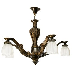 Art Deco Five-Light Bronze and White Frosted Glass Chandelier, 1930s