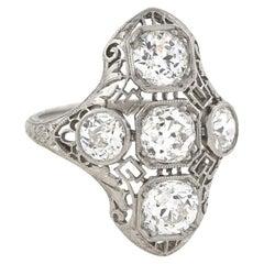 Art Deco Five-Stone Diamond Filigree Ring 2.63 Total Carat