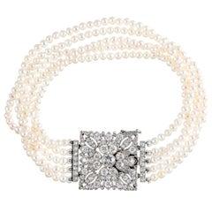 Art Deco Five Strand Pearl and Diamond Bracelet