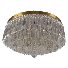 Art Deco Five-Tiered Six-Light Crystal and Brass Flush Mount Chandelier