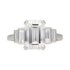 Art Deco Flanked Solitaire Diamond Ring, Circa 1925
