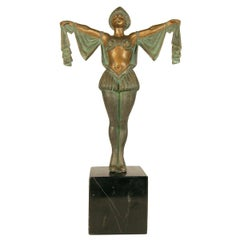 Art Deco Flapper Erotic Dance Spelter Female Statue