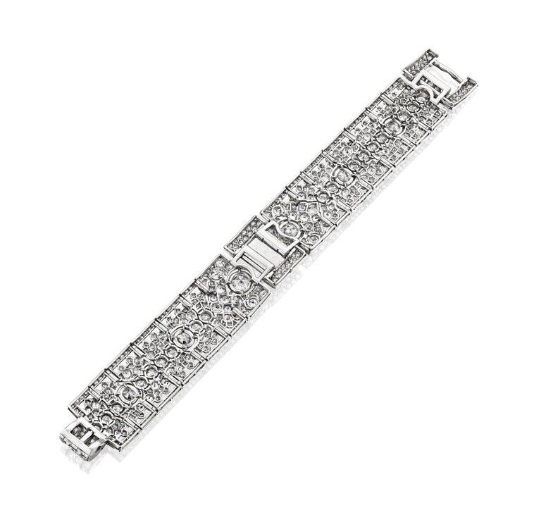 Old European Cut Cartier Paris Art Deco Flexible Diamond Bracelet, circa 1930