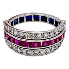 Art Deco Flip Over Ruby Sapphire Diamond Platinum Eternity Ring