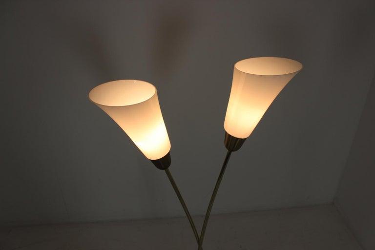 Glass Art Deco Floor Lamp, Czechoslovakia For Sale