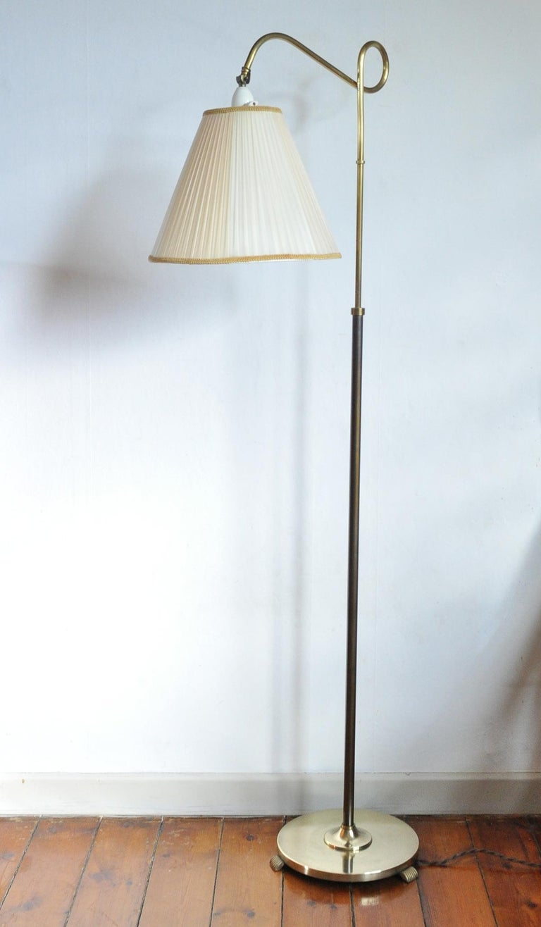 Art Deco Floor Lamp In Brass And Browned Brass With