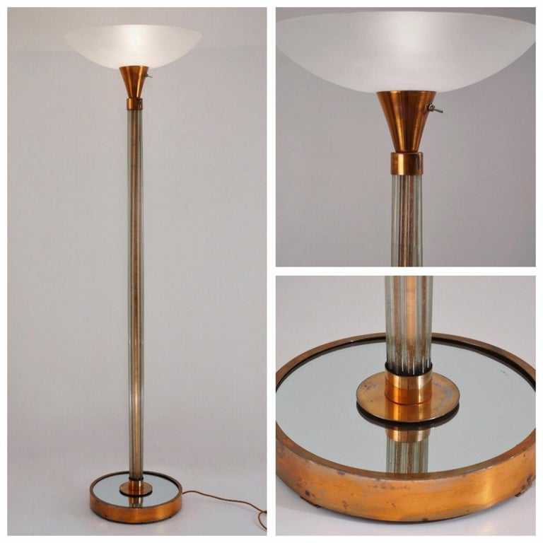 Wondrous Art Deco Floor Lamp Torchiere Glass And Copper On Brass 1930S Wiring Digital Resources Operpmognl