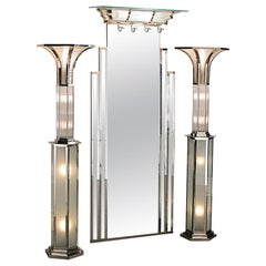 Art Deco Floor Lamp with nickel Finish