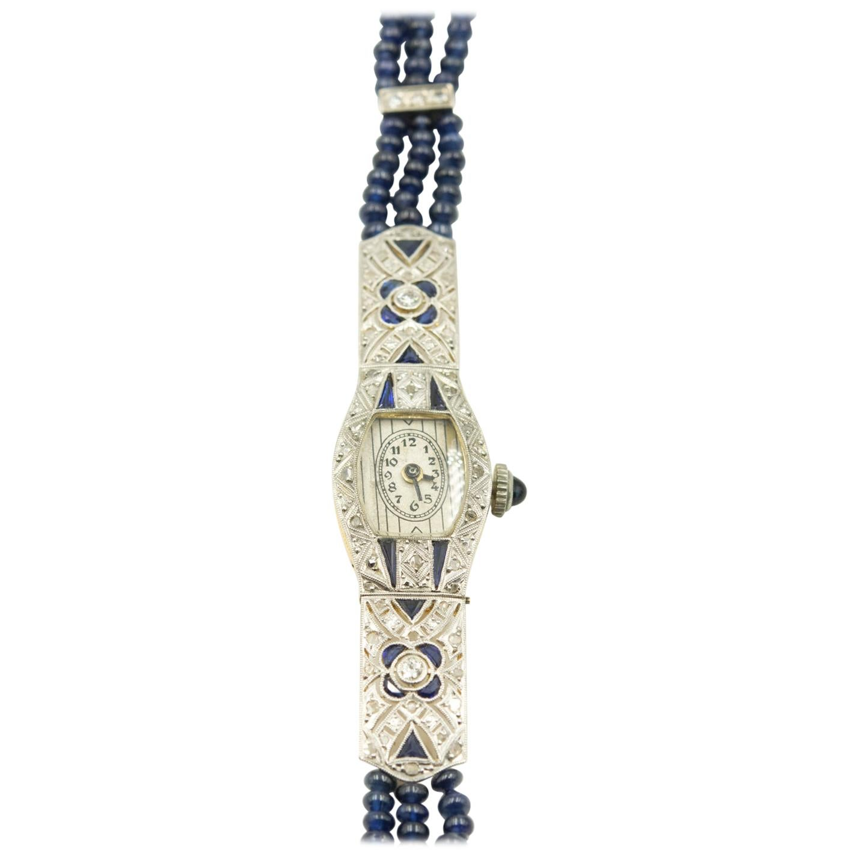 Art Deco Floral Filagree Sapphire and Diamond Ladies Dress Watch Sapphire Band