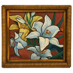 Art Deco Floral Oil on Canvas Painting by Meyers Rohowsky, 1942