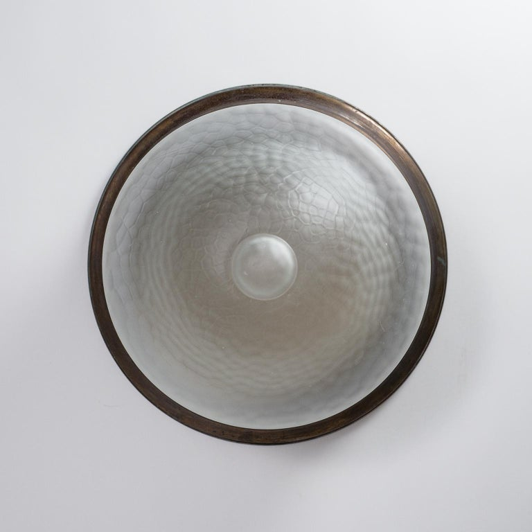 Art Deco Flush Mount, circa 1920, Brass and Satin Textured Glass For Sale 4